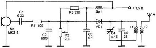 Miniature radio transmitter on tunnel diode