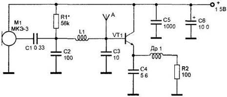 Microtransmitter with FM transistor