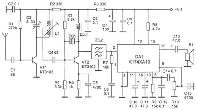 Radio receiver AM signals on a special chip
