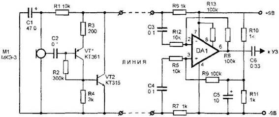 Microphone amplifier with differential input